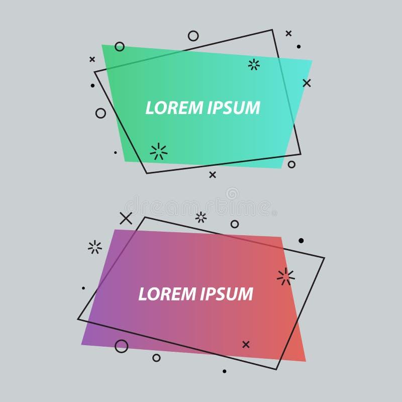Geometryczna mowa gulgocze, sztandary, majchery, mieszkanie styl ilustracja wektor