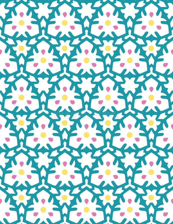 Geometryczna retro siatki stokrotka kwitnie bezszwowego wzór Po ca?ym druku wektoru t?o Ładny lato ogródu 1950s mody styl ilustracji