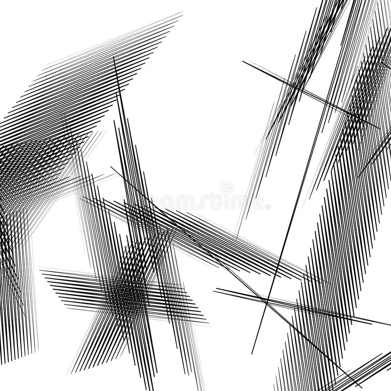 Geometryczna sztuka z przypadkowymi, chaotycznymi liniami, Abstrakcjonistyczny monochrom il ilustracji