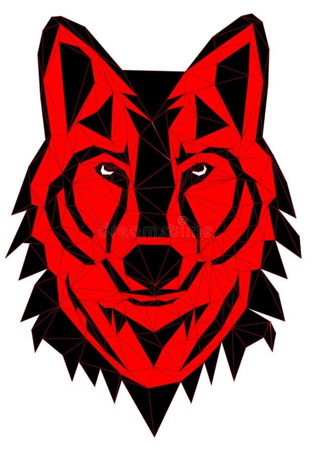 Geometryczna wektor głowa rysująca w linii lub trójboka stylu wilk ilustracji