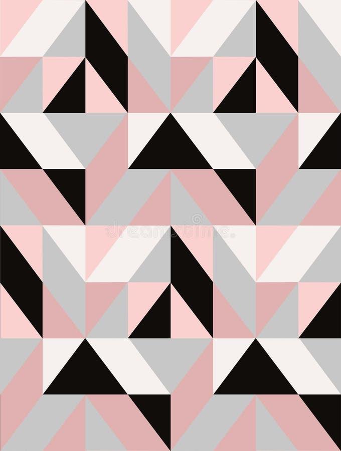 Geometryczna wektorowa mozaiki płytka w czerni, popielatej i pastelowej menchii, ilustracji