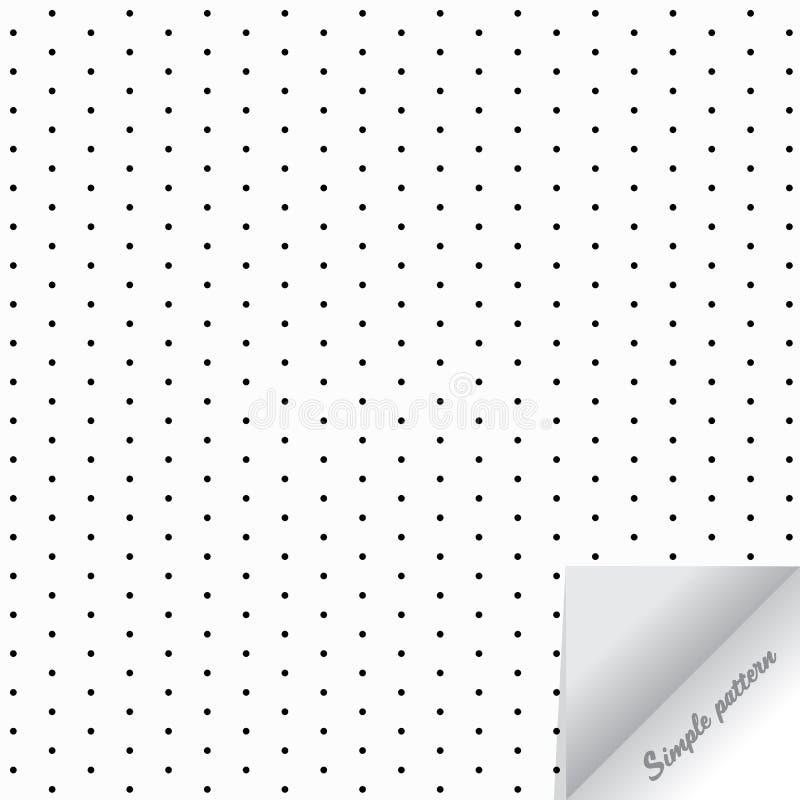 Geometryczna wektoru wzoru powtórka kropkująca, okrąg, szara polki kropka na białym tle z realistycznym papierowym trzepnięciem royalty ilustracja