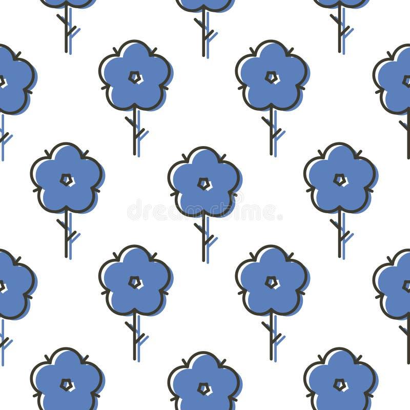 Geometrycznego błękitnego scandinavian stylu kwiatu wektoru bezszwowy prosty śmiały wzór ilustracja wektor