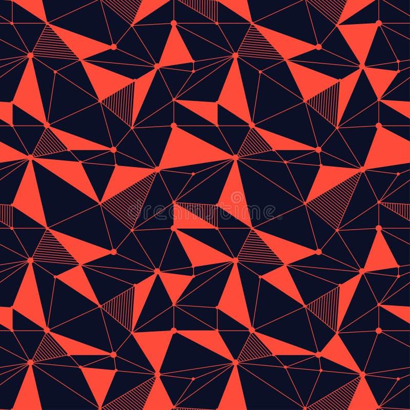 Geometrycznego kreskowego modnisia bezszwowy wzór z trójbokiem, kropka Siatkująca abstrakcjonistyczna liniowa siatka Retro scrapb ilustracja wektor