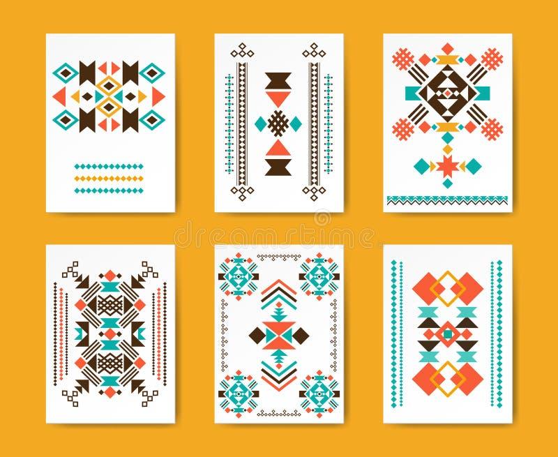 Geometrycznego modnisia plemienne trójgraniaste ulotki royalty ilustracja