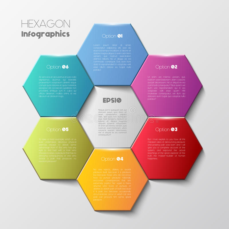 Geometrycznego sześciokąta infographic pojęcie ilustracji