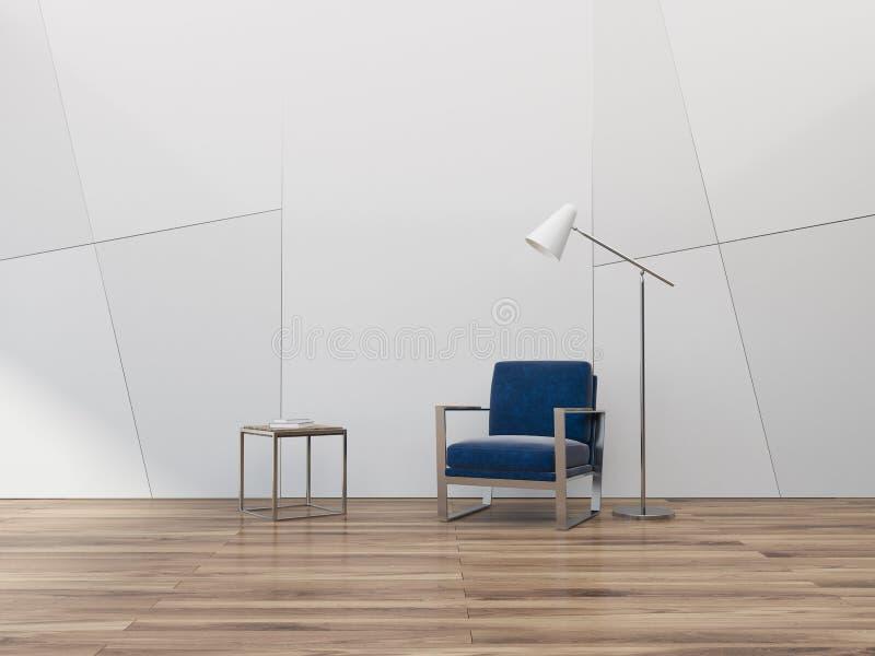 Geometrycznego wzoru pusty żywy pokój, błękitny karło royalty ilustracja