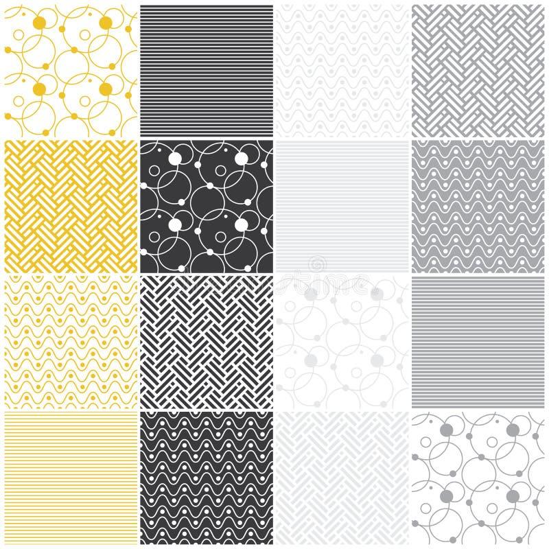Geometryczni bezszwowi wzory: lampasy, fala, kropki, royalty ilustracja