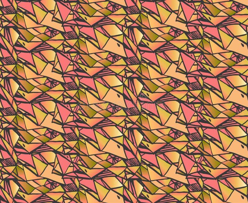 Geometryczni gradientowi ręka remisu atramentu wzory Kolorowi abstrakcjonistyczni mozaik tła Wektorowa ilustracja w cieniach menc ilustracji