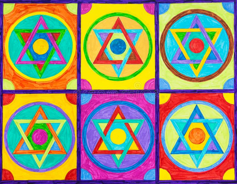 Geometryczni gwiazda projekty w kwadratach obrazy stock