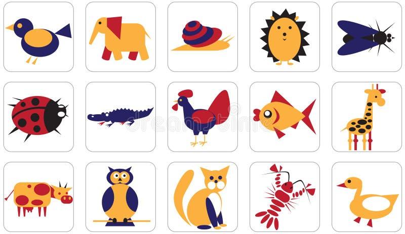 Geometryczni ikon zwierząt insekty i ptaki ilustracja wektor