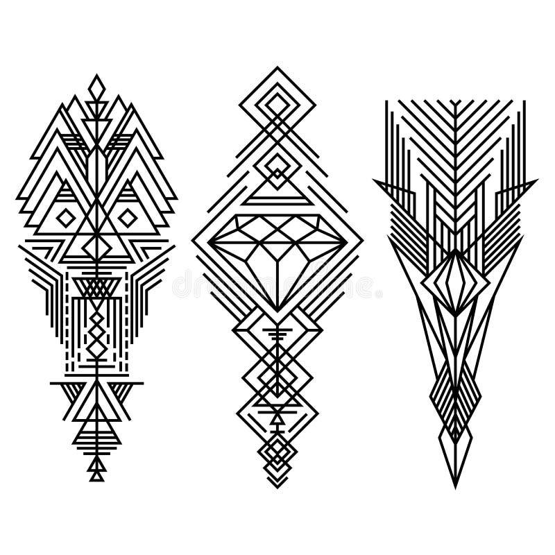 Geometryczni liniowi modni modnisiów elementy ilustracja wektor