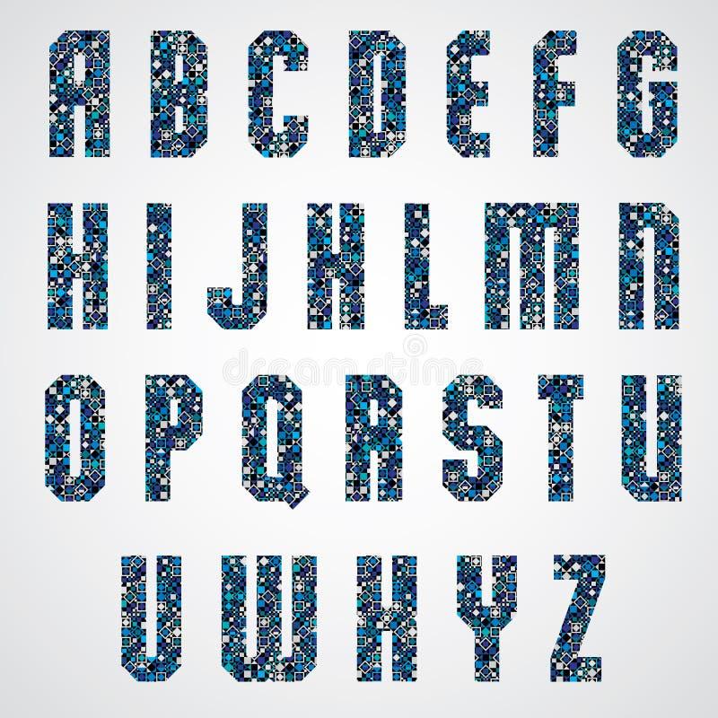 Geometryczni listy dekorujący z błękitną piksel teksturą ilustracja wektor