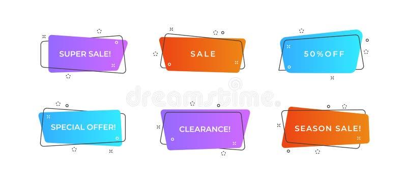 Geometryczni płascy sztandary Nowożytny abstrakcjonistyczny gradient kształtuje dla logo, sprzedaży promocja, rabata tytułu rama  ilustracja wektor