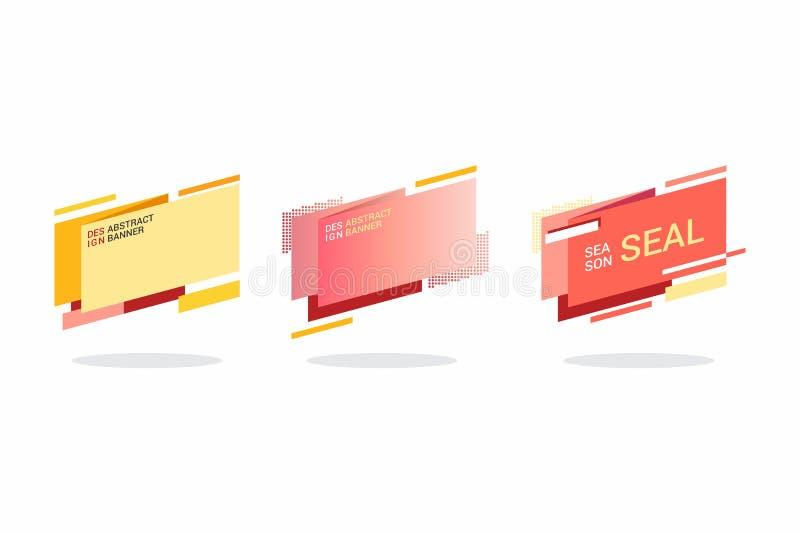 Geometryczni płascy sztandary ustawiający Nowożytny abstrakcjonistyczny gradient kształtuje dla logo, sprzedaży promocja, rabata  ilustracja wektor