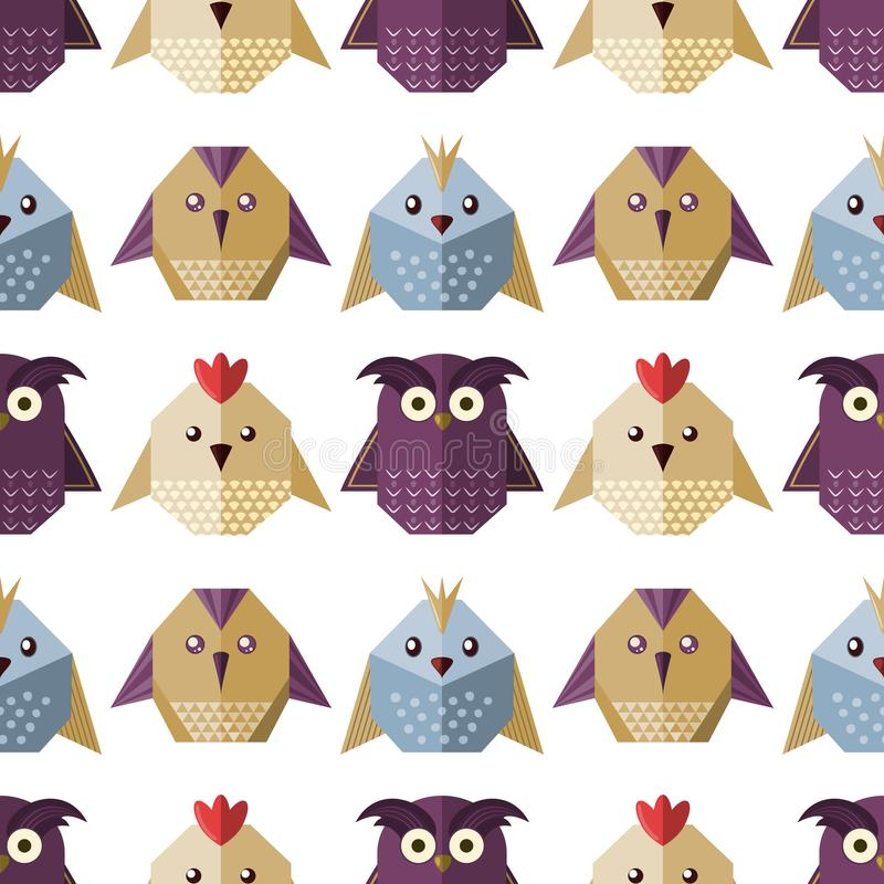 Geometryczni papierowi ptaki w mieszkanie stylu ilustracja wektor