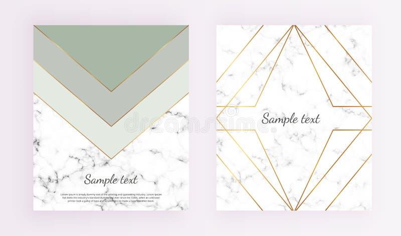 Geometryczni pokrywa projekty, trójboki z złoto linii ramą, zieleń i siwieją kolory i marmurowego tekstury tło Szablon dla projek ilustracja wektor