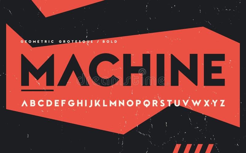 Geometryczny śmiały ciężaru San serif, abecadło, uppercase listy, fo ilustracji