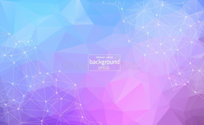 Geometryczny światło - purpurowa Poligonalna tło molekuła, komunikacja i Związane linie z kropkami Minimalizmu tło Pojęcie royalty ilustracja