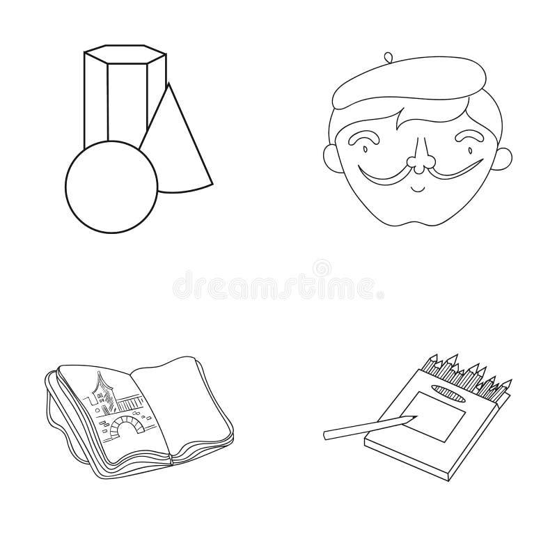 Geometryczny życie wciąż, autoportret artysta, notatnik z rysunkami, pudełko barwioni ołówki Artysta i royalty ilustracja
