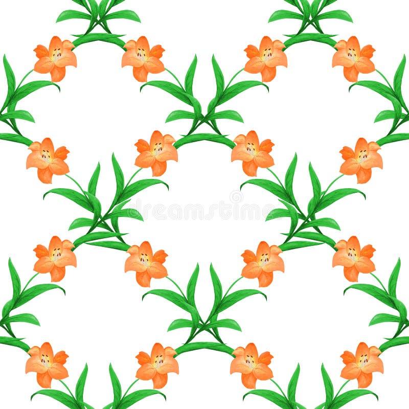 Geometryczny сheckered wzór Bezszwowy wzór różowe leluje z zielonymi liśćmi ilustracja wektor