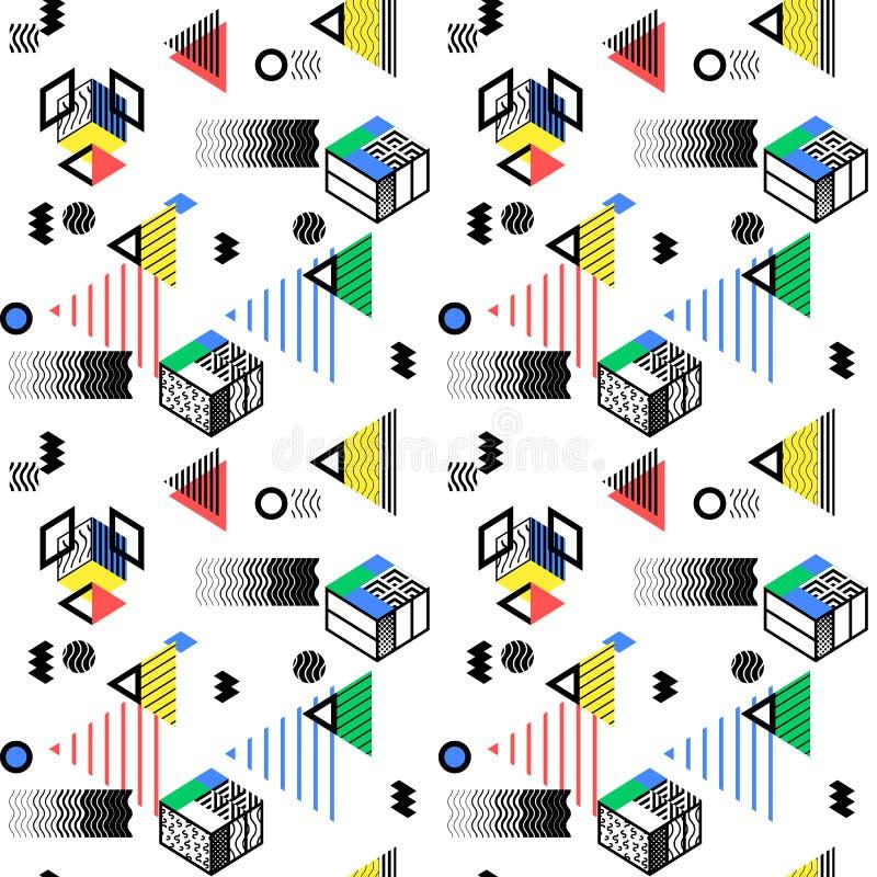 Geometryczny abstrakcjonistyczny bezszwowy deseniowy tło Kolorowy decorat royalty ilustracja