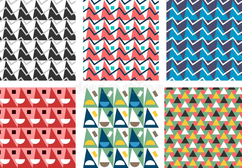 Geometryczny abstrakcjonistyczny bezszwowy wzoru set Prosty trójboka motyw ilustracja wektor