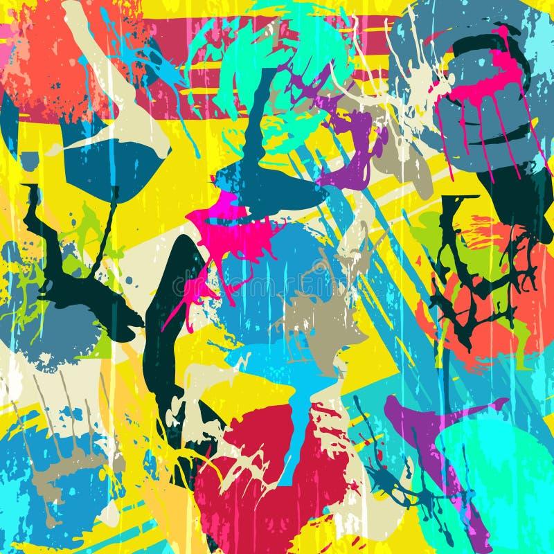 Geometryczny abstrakcjonistyczny koloru wzór w graffiti stylu ilości wektorowa ilustracja dla twój projekta ilustracja wektor
