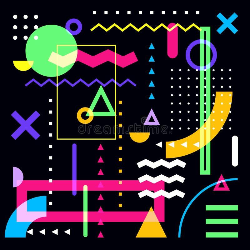 geometryczny abstrakcjonistyczny tło Kolorowi wektorowi modni projektów elementy na czarnym tle Multicolor kształty ustawiający ilustracji