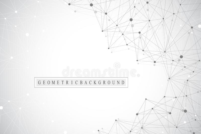 Geometryczny abstrakcjonistyczny tło z związaną linią i kropkami Sieci i związku tło dla twój prezentaci ilustracja wektor