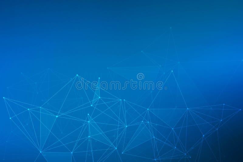 Geometryczny abstrakcjonistyczny tło z związaną linią i kropkami Struktury komunikacja i molekuła Naukowy pojęcie dla ilustracja wektor