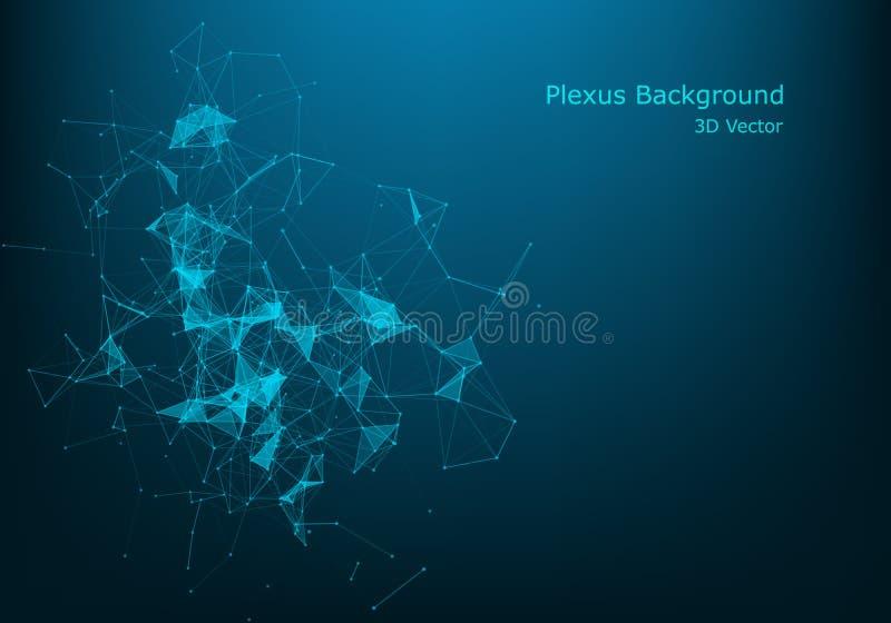 Geometryczny abstrakcjonistyczny tło z związanymi liniami i kropkami Falowy przepływ Molekuły I komunikaci tło Graficzny tło royalty ilustracja