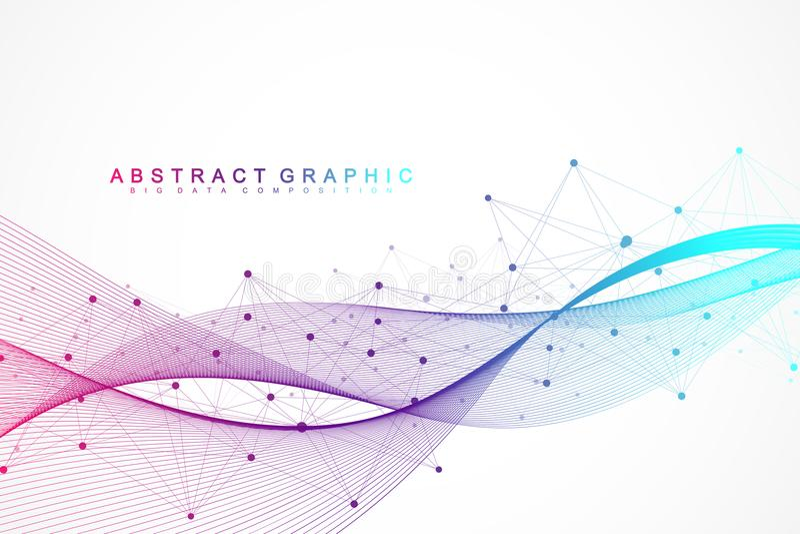 Geometryczny abstrakcjonistyczny tło z związanymi liniami i kropkami Falowy przepływ Molekuły I komunikaci tło grafika royalty ilustracja