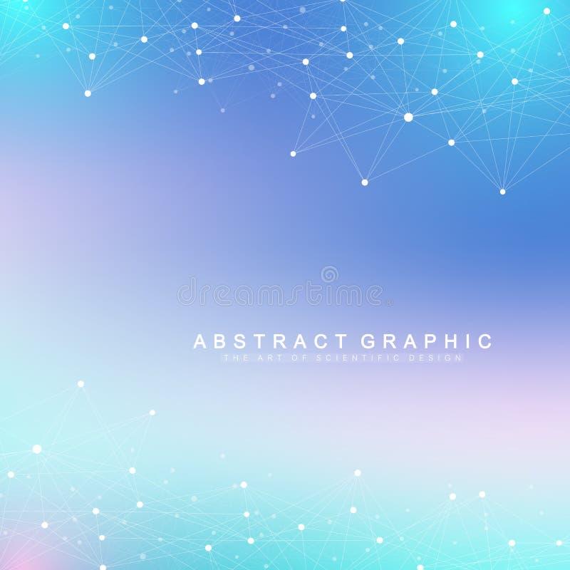 Geometryczny abstrakcjonistyczny tło z związanymi liniami i kropkami Falowy przepływ Molekuły I komunikaci tło grafika ilustracji