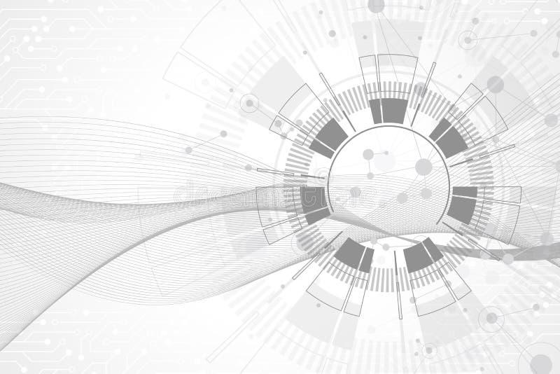 Geometryczny abstrakcjonistyczny tło z związanymi liniami i kropkami Falowy przepływ Molekuły I komunikaci tło grafika ilustracja wektor