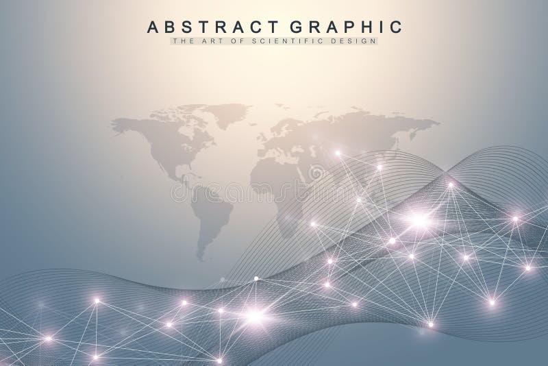Geometryczny abstrakcjonistyczny tło z związanymi liniami i kropkami Falowy przepływ Sztuczna inteligencja i maszynowy uczenie royalty ilustracja