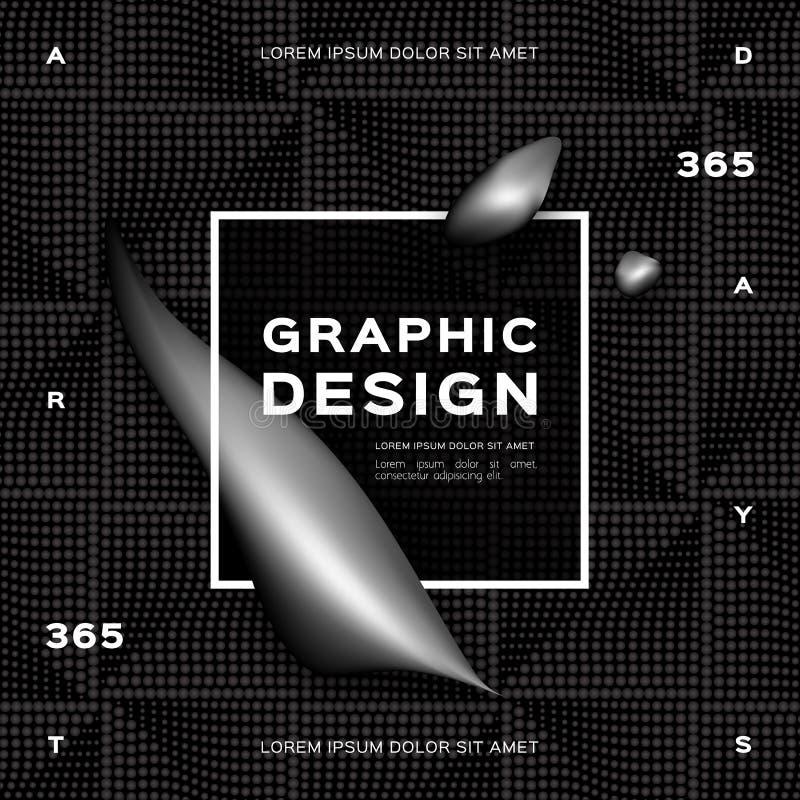 Geometryczny abstrakta srebra czerni tło, Gradientowy rzadkopłynny czerń kształtuje Ciekłego ciemnego tło Modny graficzny projekt ilustracja wektor