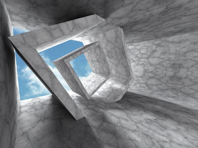 Geometryczny betonowy architektury tło Abstrakcjonistyczny constructio ilustracji