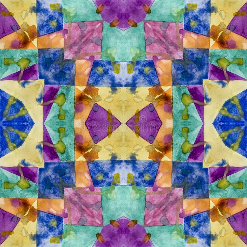 Geometryczny bezszwowy akwareli t?o kleksy, kapinosy, niestaranna akwarela acrylic kolor?w papier ilustraci papier royalty ilustracja