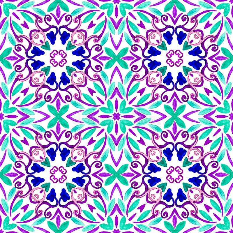 Geometryczny bezszwowy akwareli t?o kleksy, kapinosy, niestaranna akwarela acrylic kolor?w papier ilustraci papier obrazy stock