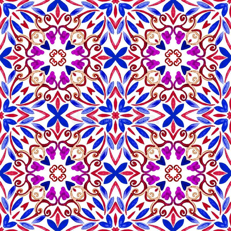 Geometryczny bezszwowy akwareli t?o kleksy, kapinosy, niestaranna akwarela acrylic kolor?w papier ilustraci papier obraz stock