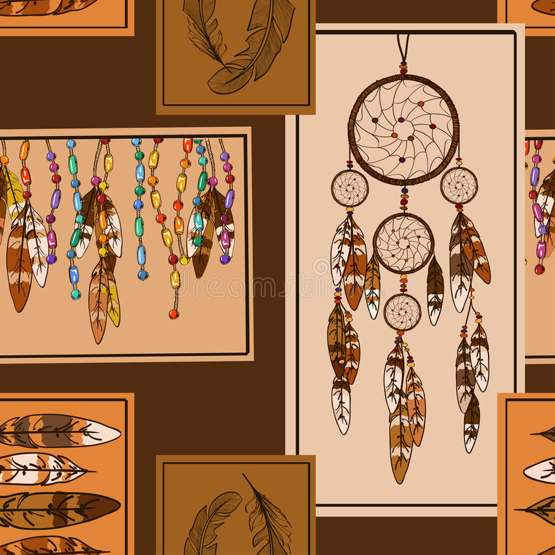 Geometryczny bezszwowy wzór Amerykańscy indianów symbole royalty ilustracja
