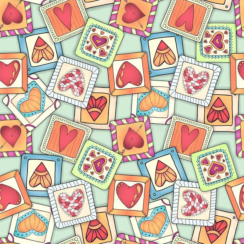 Geometryczny bezszwowy wzór w patchworku stylu ilustracji