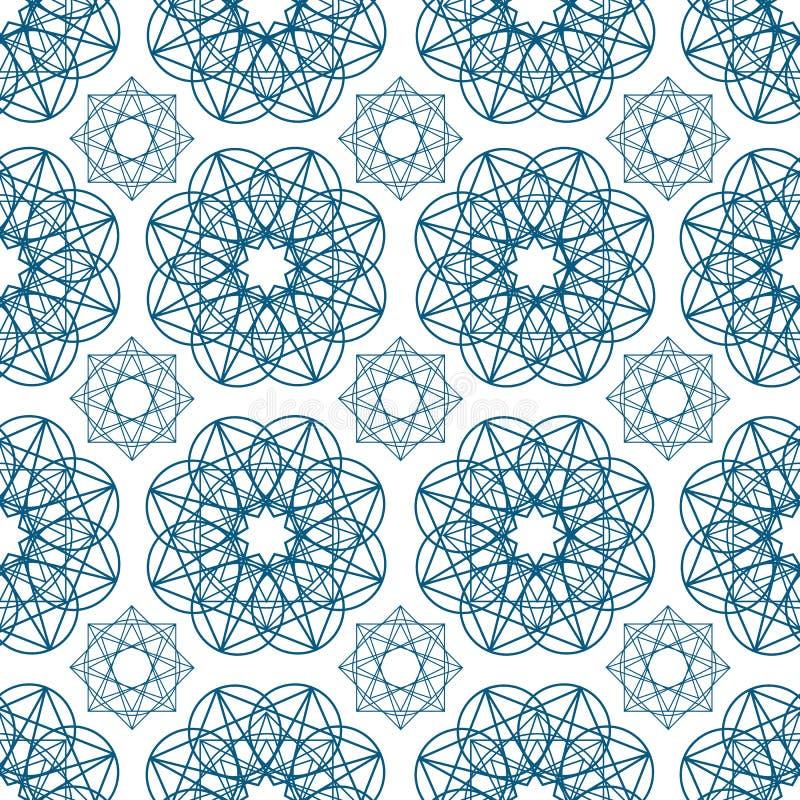 Geometryczny bezszwowy wzór z kółkowymi kształtami rysującymi z błękitnymi konturowymi liniami na białym tle Język arabski geomet ilustracja wektor