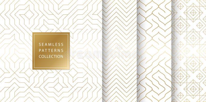 Geometryczny bezszwowy złoty deseniowy tło Prosty wektorowej grafiki biały druk Wielostrzałowy kreskowy abstrakcjonistyczny tekst ilustracja wektor
