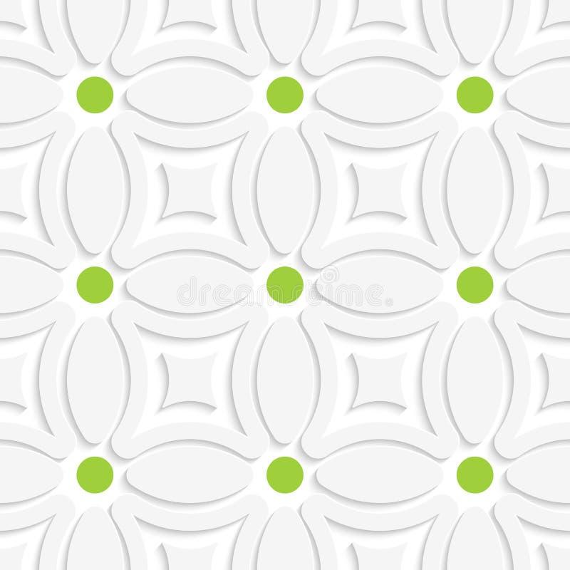 Geometryczny bielu wzór z zielonymi kropkami royalty ilustracja