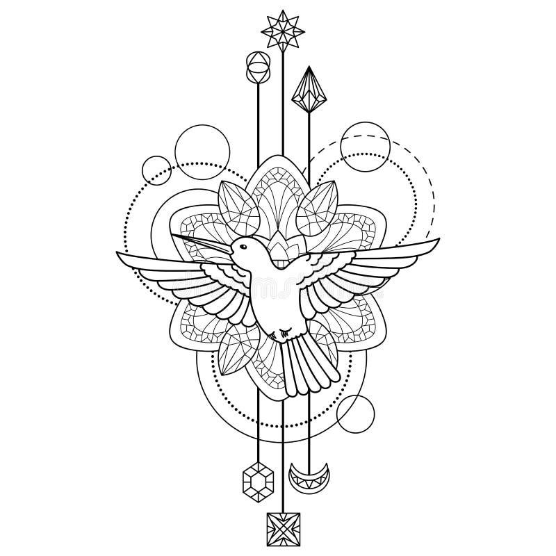 Geometryczny colibri symbol ilustracji