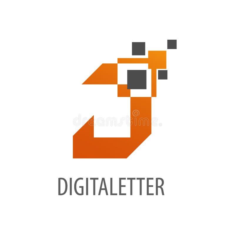 Geometryczny cyfrowy piksla początkowego listu J logo pojęcia projekt Symbolu szablonu graficzny element ilustracji