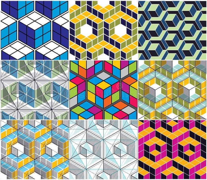 Geometryczny 3d wykłada abstrakcjonistycznych bezszwowych wzory ustawiających, wektorowy backgr ilustracja wektor