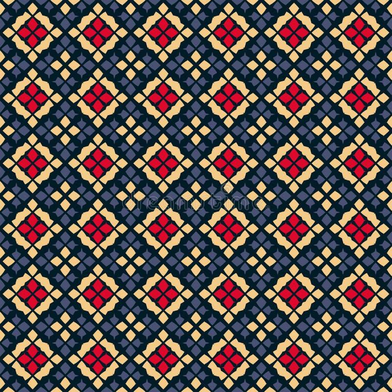 geometryczny deseniowy bezszwowy wektor Ludowy ornament Czerń, czerwień, błękit i kolor żółty, ilustracji